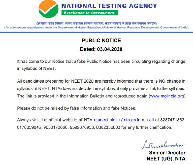 NEET Syllabus 2020 NTA Notice