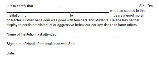 Character Certificate for Students